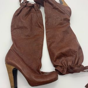 Marc by Marc Jacobs leather drawstring boots 38